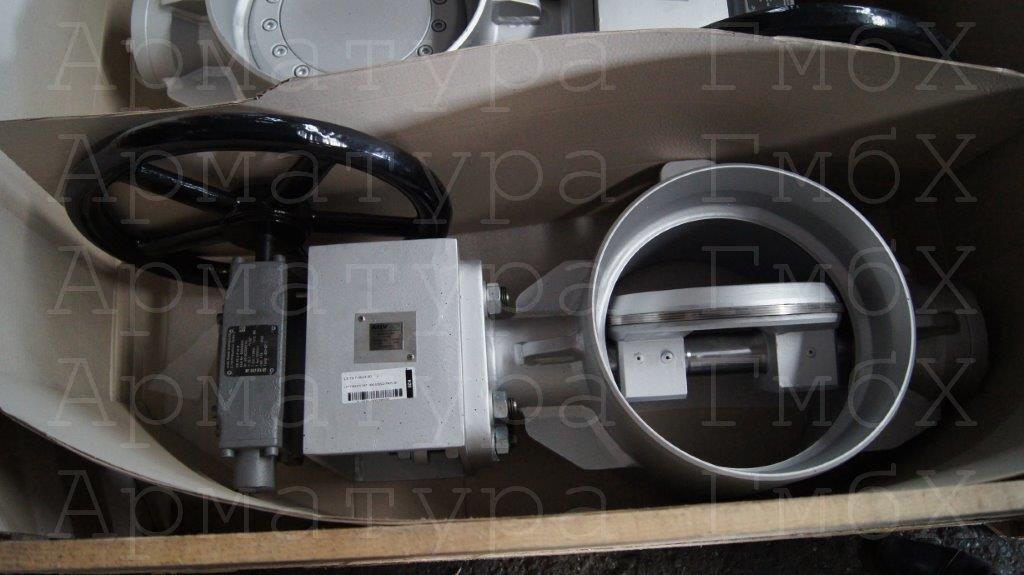 3х эксцентриковый дисковый затвор типа V3-06-3E Ду300 Ру25 под приварку с редуктором AUMA