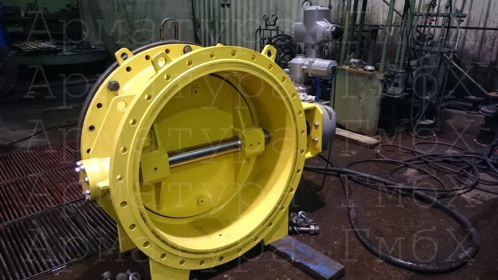 3х эксцентриковый дисковый затвор Ду1000 для природного газа