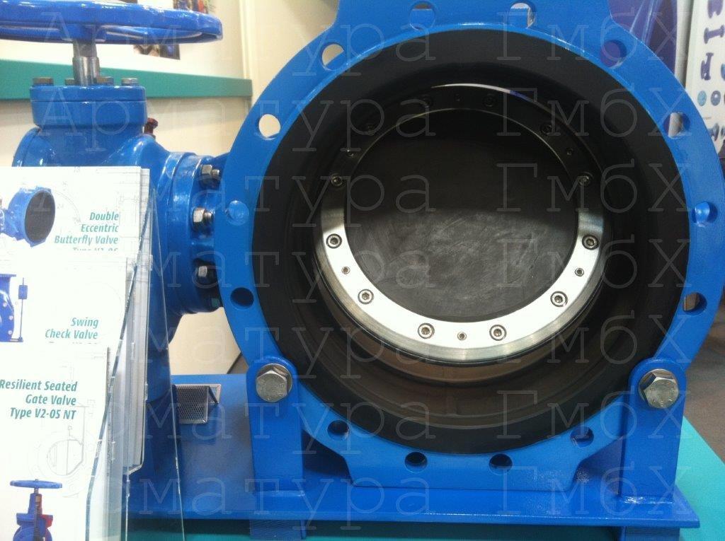 Гуммированный затвор MIV типа V3-06G Ду300 Ру16 для морской воды